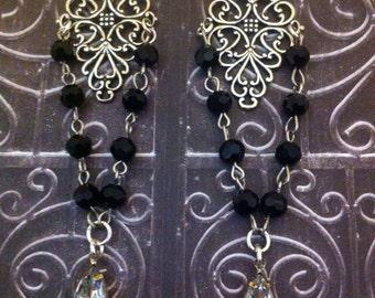 Victorian Beaded Earrings ~Vintage Crystals ~ Bohemian Jewelry ~