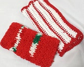Crocheted Dishcloths Wash Cloths, Set of two in Red, white and green