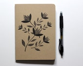 Medium Blank Notebook, Letterpress, Printed Cover, Wild Flowers, Gifts for her, Botanical Print, Small Blank Book, Journal