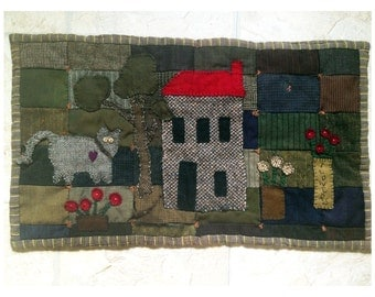 """Vintage Quilted Folk Art Wool and Flannel 14.5""""X25"""""""