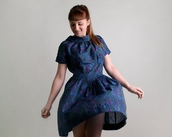 ON SALE Vintage Floral Dress - 1960s Garden Botanical Pleated Day Dress - Medium Large
