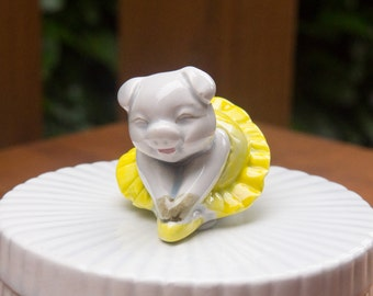 Vintage Fitz & Floyd Round Trinket Jewelry Box~On Lid A Pig Ballerina In Yellow