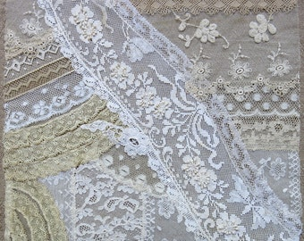 Vintage & Antique Lace Collage, No. 34 ... Frameable Lace Art ...crazy quilting, heirloom sewing, fabric art, books, assemblage, mixed media
