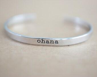 Ohana Bracelet - Handstamped Ohana Family Cuff Bracelet - Skinny 1/5 inch Typewriter