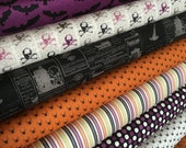 Halloween fabric, Lost and Found fabric bundle by Riley Blake Fabrics, Skull fabric, Spiders, Bats, Bundle of 8- You Choose the Cut