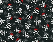 Fabulous Fox Fabric, Skulls in Black, Modern fabric, Pirate fabric, Boy fabric, Andie Hanna- Nursery Fabric, Quilt Fabric, Choose your cut
