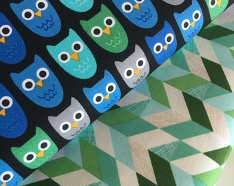 Owl fabric, Boy fabric, Nursery fabric, Childrens fabric, Woodland Pals by Ann Kelle for Robert Kaufman, Bundle of 2- Choose the Cut