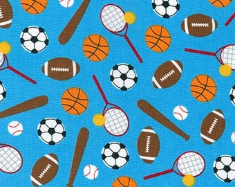 SALE fabric, Sport Kids, Soccer fabric, Baseball fabric, Basketball fabric, Back to School, Ann Kelle, Sports Stuff in Blue, Choose Your Cut