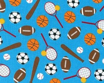 SALE fabric, Sport Kids, Soccer fabric, Baseball fabric, Basketball fabric, Back to School, Ann Kelle, Sports Stuff in Blue, Choose Your Cut