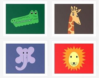 Set of 8 Jungle Prints, Printable Children's art, nursery decor, colourful, jungle animals, printable jungle animals, INSTANT DOWNLOAD