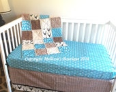 Rustic Deer/Buck Chevron Wood Grain Turquoise Brown Beige & Black Baby Nursery Crib Bedding Set made with Designer Fabrics READY TO SHIP