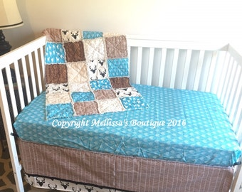 Rustic Deer/Buck Chevron Wood Grain Turquoise Brown Beige & Black Baby Nursery Crib Bedding Set made with Designer Fabrics MADE TO ORDER