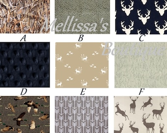 Rustic Duck Hunting Deer Woodland Navy Gray Tan and Green Baby Nursery Crib Bedding Set CHOOSE & CUSTOMIZE