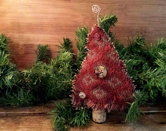 vintage buttons wine cork christmas tree ornament decoration shabby chic home decor handmade with upcycled fabric and handcrafted copper