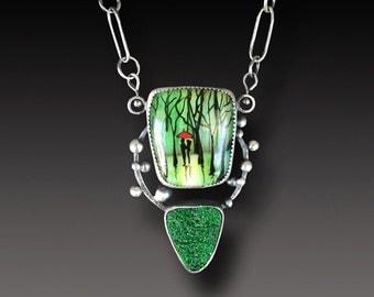 Enamel on Fused Glass Necklace Sterling Silver Uvarovite Druzy