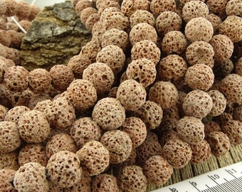 10mm Brown Lava Rock Beads,  Light Brown Round Nugget Beads, 10 mm Lava Stone Beads 10-11mm, Volcanic Lava beads