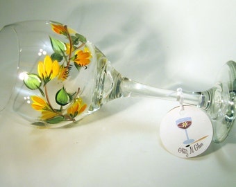 Orange Flower Hand Painted Wine Glass