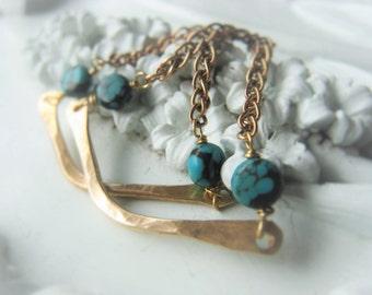 Turquoise Earrings Gold Chain Earrings Bronze Dangle Earrins Item No. 1743