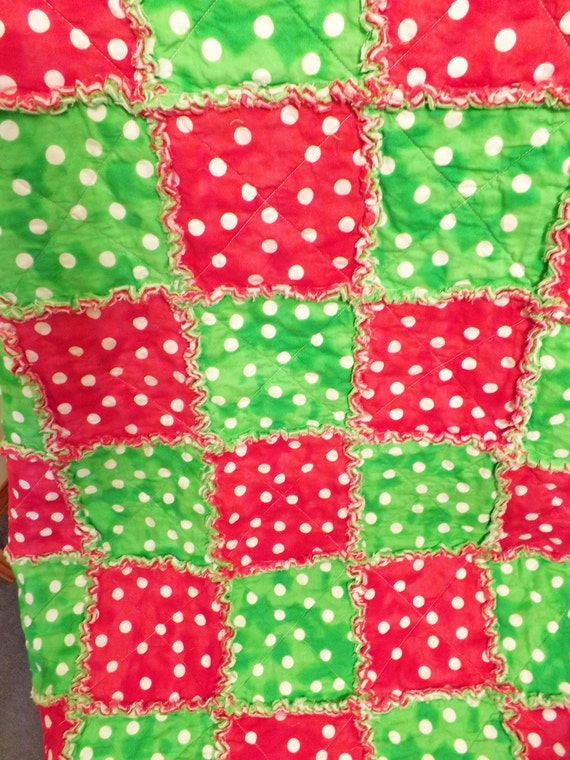 Christmas Red Rag Quilt - Red and Green - Fun Polka Dots - Lap Quilt - Handmade