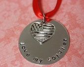 Hand Stamped Love My Soldier Christmas Ornament - ON SALE