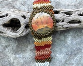 Free Form Peyote Stitch Beaded Bracelet Beaded Cuff - Beaded Cabochon - Bead Weaving BOHO  - Red Creek Jasper