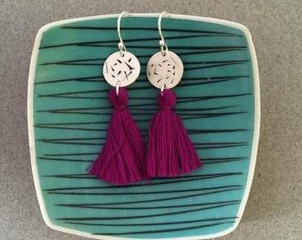 Striped Sterling Silver Earrings with Purple Tassels - Long Boho Earring