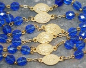 Seven Sorrows of Mary Chaplet in Sapphire Czech Glass with Gold Metals, Seven Dolors Chaplet