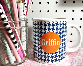 Personalized coffee cup, personalized coffee mug, houndstooth coffee mug, coffee mug, monogrammed mug, monogrammed cup, coffee cup, coffee