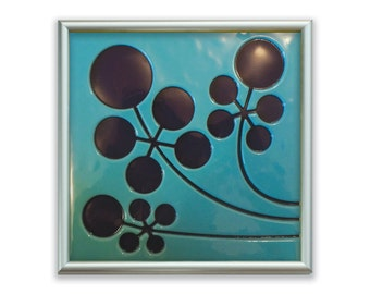 Mustard Flowers Fused Glass Art Tile in Aqua/Dark Purple