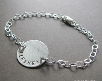 "Personalized Bracelet - Custom Sterling Silver Hand Stamped Charm Bracelet - 3/4"" Charm Bracelet with Optional Birthstone or Pearl"