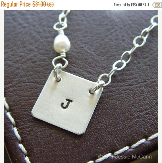 Valentines Day Sale Custom Initial Necklace - Personalized Sterling Silver Hand Stamped Charm Jewelry - Square Connect with birthstone or pe