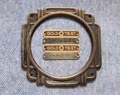 Tube Radio Brass Name Tag Faceplate Lot Advertising Ephemera ID Antique Dial Face Plate Frame Repurpose Hardware