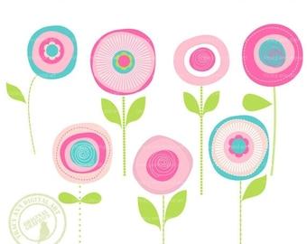 Flower Clip Art Summer Blooms,  Modern Flower Clip Art  JellyBean Blooms