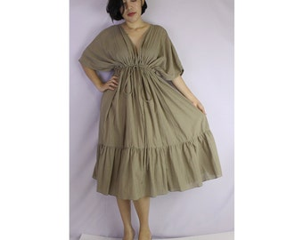 Khaki Soft Cotton V-Neck Short Ruffle Tunic Dress One all most (GR 02)