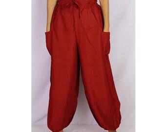 Boho Hippie Maroon Red Rayon Elastic Waist Long Aladdin Summer pants (AP07)