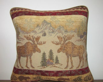 Moose Tapestry Pillow Decorator Soft Comfy Textured Chenille Cabin Lodge Decor