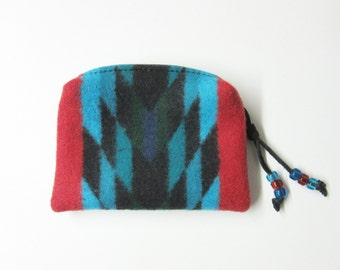 Wool Zippered Pouch Coin Purse Change Purse Accessory Organizer Red Turquoise Print from Pendleton Oregon