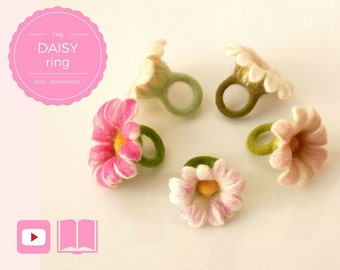 DIY - Video + PDF workshop seamless felted flower ring - Daisy ring - Intermediate level - 7 videos & 1 PDF - Instant download