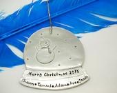 Personalized Snow Globe Ornament, Custom Snow Globe personalized Ornament, Holiday Snow Globe Christmas ornament Personalize family ornament