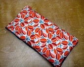 Therapy Rice Bag, Microwave Heat Pack, Rice Heating Pack, Therapy Sack, Orange Vine and Blue, Washable Cover,