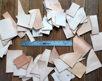 Leather Scraps - Natural Undyed Leather Lot - Destash Leather Pieces - 1 Pound Lot