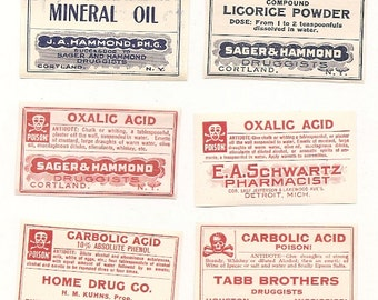 53 1930s plus Drugstore,Pharmacy ,Poison and Medicine Labels etc
