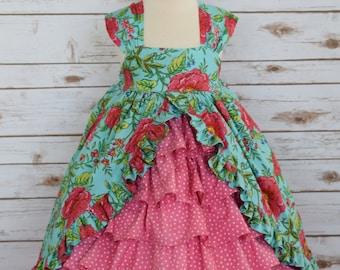 Girls Boutique Tea Party Dress-Girls  Dress-Girls Easter Dress-Pageant Dress-Girls Maxi Dress-Girls Ruffle Dress-Ready to Ship-Size 3/4