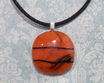 Orange Fused Glass Pendant, Black Accents, Simple Halloween Jewelry, Fused Glass Jewelry, Ready to Ship - October Fever -6