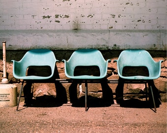 Rural Photography, Train Station Chairs, Montana Decor, Art Deco Chairs, Modern Symmetrical Photography, Film Photography, Blue Wall Art