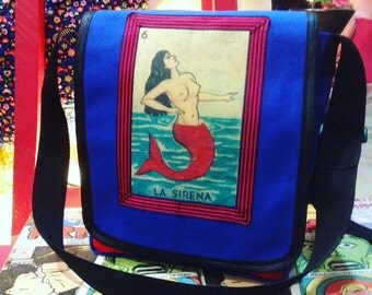 Blue Canvas La Sirena Messenger Bag, Mermaid Bag, Courier Bag
