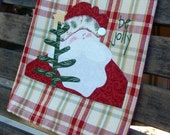 Tea Towel | Appliqued Santa | Kitchen Towel | Christmas Towel |  Jolly Santa Towel | Holiday Decor | Red Gold Green Plaid Towel