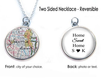 Map Necklace, Double Sided Custom Photo Necklace, Map Keychain, Two Sided Keychain, Reversible Necklace, Seattle Map Pendant