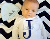 Baby Boy Coming Home Outfit, Baby Boy Clothes, Bodysuit, Hat, Baby Boy Gift, Personalized Baby Outfit, Monogram