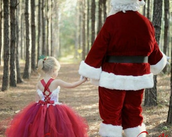 Santa Dress Lace Holiday Dress Flower Girl Dress Wedding Dress Christmas Dress Party Dress Tutu Dress Baby Dress Toddler Dress Girls Dress